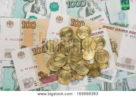 On Randomly Scattered Banknotes Russian Rubles Is A Bunch Of Ten-coin