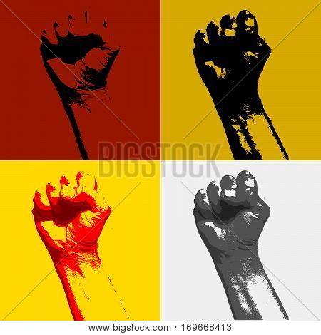 Realistic hand with clenched fist icon. Fist of revolution and protest. Agitation concept. Hand up. Vector design element