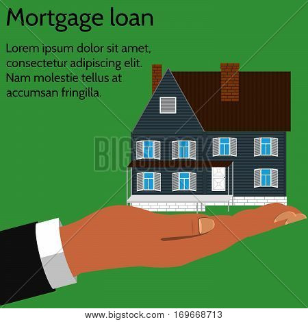 Concept business icon of the mortgage loan. The hand of the giver the house on green background