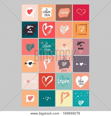 Vector collection of 24 cute Valentines cards. Printable template adapted for quadratic formats. Hand drawn elements by brush. Happy Valentine's Day