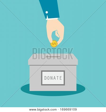donation box money hand concept business symbol illustration flat vector stock