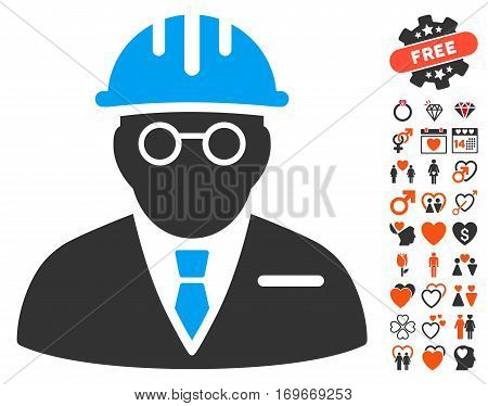 Blind Engineer icon with bonus love images. Vector illustration style is flat iconic symbols for web design app user interfaces.