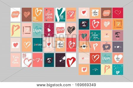 Vector collection of 48 cute Valentines cards. Printable template adapted for quadratic, A4 and similar formats. Hand drawn elements by brush. Happy Valentine's Day