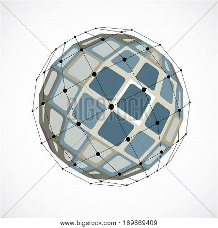 Abstract 3D Faceted Figure With Connected Black Lines And Dots. Vector Low Poly Gray Design Element
