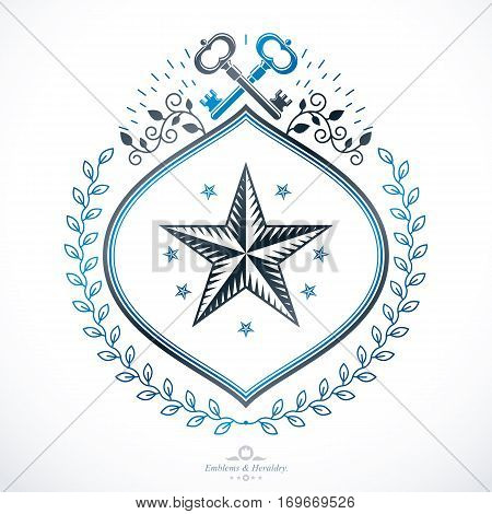 Vintage heraldry design template vector emblem created with pentagonal star and security keys