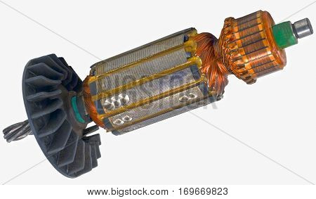 the Electric motor rotor isolated white background