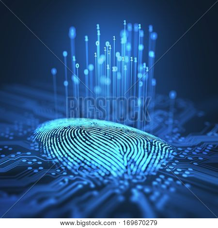 3D illustration. Fingerprint integrated in a printed circuit releasing binary codes.