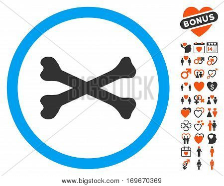 Bones Cross icon with bonus passion pictures. Vector illustration style is flat iconic symbols for web design app user interfaces.