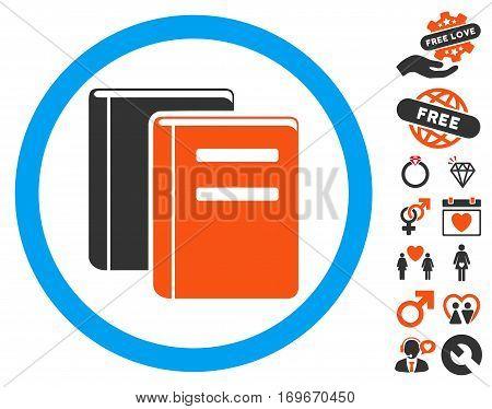 Books icon with bonus romantic icon set. Vector illustration style is flat iconic symbols for web design app user interfaces.
