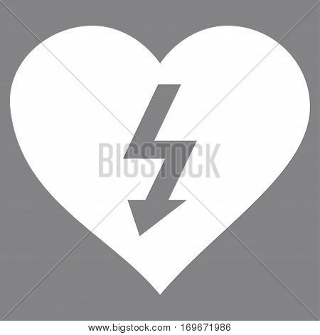 Power Love Heart flat icon. Vector white symbol. Pictograph is isolated on a gray background. Trendy flat style illustration for web site design logo ads apps user interface.