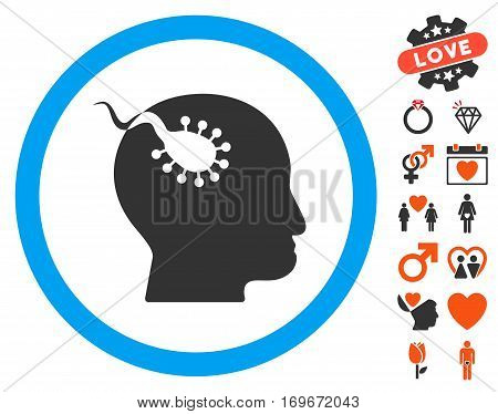 Brain Parasite pictograph with bonus lovely symbols. Vector illustration style is flat iconic symbols for web design app user interfaces.