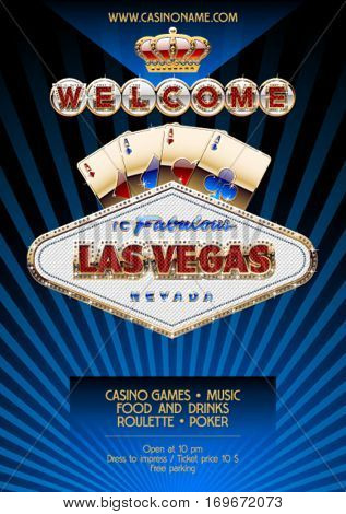 Vector unique flyer for party in casino in Las Vegas