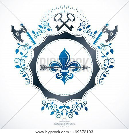Heraldic emblem composed with hatchets and security keys isolated vector illustration.