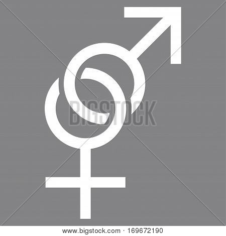 Sex Symbol flat icon. Vector white symbol. Pictogram is isolated on a gray background. Trendy flat style illustration for web site design logo ads apps user interface.