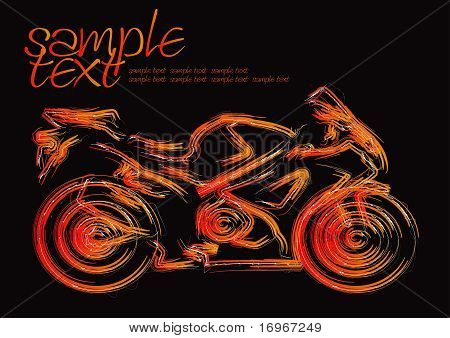 Effective speed motorcycle drawing on black background poster