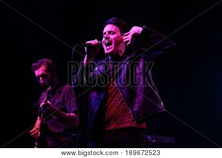HUNTINGTON, NY-DEC 1: Singer Jack Weppler (R) of Sir Cadian Rhythm performs in concert at the Paramount on December 1, 2016 in Huntington, New York.