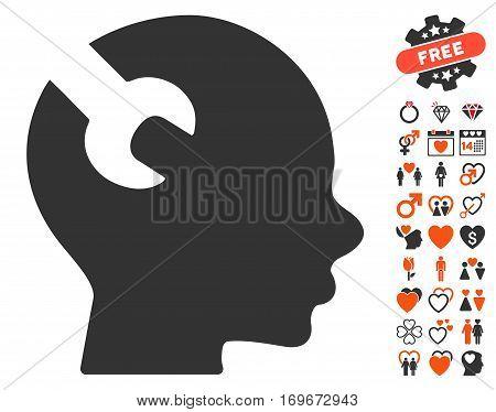 Brain Wrench Tool icon with bonus valentine symbols. Vector illustration style is flat iconic symbols for web design app user interfaces.