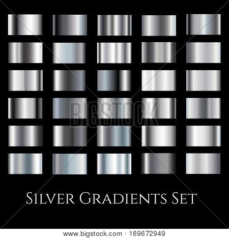 Silver metal gradient set. Different gradation design swatches collection