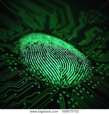 3D illustration. Fingerprint integrated in a printed circuit.