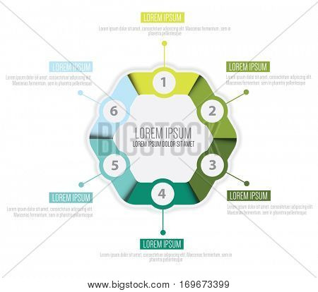 Vector infographic circle design template with six steps