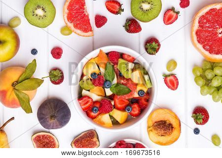 Delicious Fruits And Berries An The Table, Top View.
