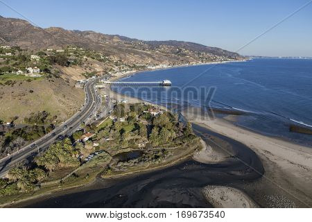 Aerial of Malibu Lagoon, Surfrider beach and the Southern California coast.
