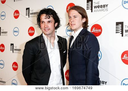 NEW YORK-MAY 19: BÃ??rd YlvisÃ??ker and Vegard YlvisÃ??ker (L)of Ylvis attend the 18th Annual Webby Awards at Cipriani Wall Street on May 19, 2014 in New York City.