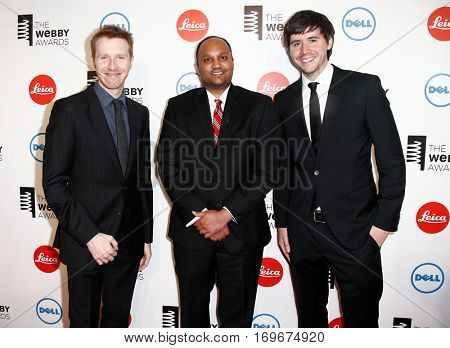 NEW YORK-MAY 19: (L-R) Pocket Founder Nate Weiner, Tushar Kirtane and Nick Schaden attend the 18th Annual Webby Awards at Cipriani Wall Street on May 19, 2014 in New York City.