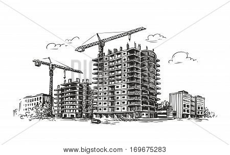 Urban construction, building sketch. City, house, town vector illustration isolated on white background