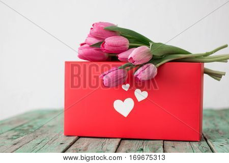 Fresh Pink Tulip Flowers Bouquet On Valentine Day Gift Box View With Copy Space