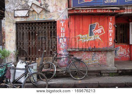 KOLKATA, INDIA - FEBRUARY 09: Bicycles parked in an alleyway near Jain Temple in Kolkata, India on February 09, 2016.