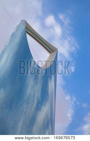 RIYADH - August 22: Kingdom tower on August 22, 2016 in Riyadh, Saudi Arabia. Kingdom tower is a business and convention center, shoping mall and one of the main landmarks of Riyadh city