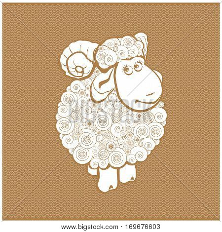 Funny sheep line icon linear pictogram isolated on white background. Silhouette of the sheep. Sheep on a background of wool.
