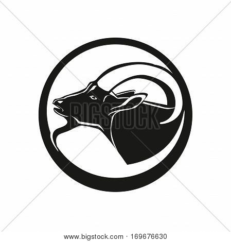 Goat head line icon linear pictogram isolated on white background. Silhouette of the goat. Goat's head in a monochrome version.