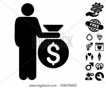Investor icon with bonus dating pictograph collection. Vector illustration style is flat iconic black symbols on white background.