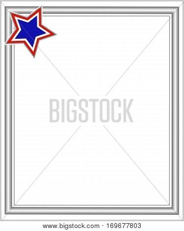 Frame in grey colours with a star tricolor US, design template American flag