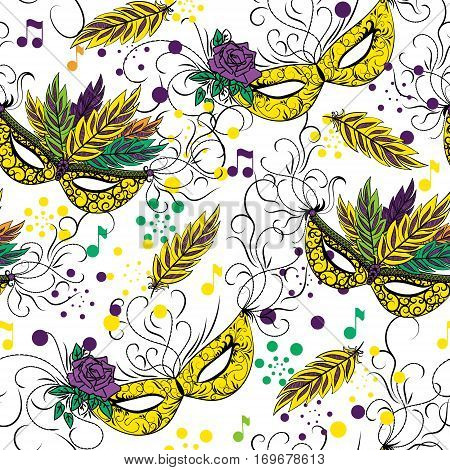 Mardi Gras seamless pattern. Colorful background with carnival mask. Vector illustration