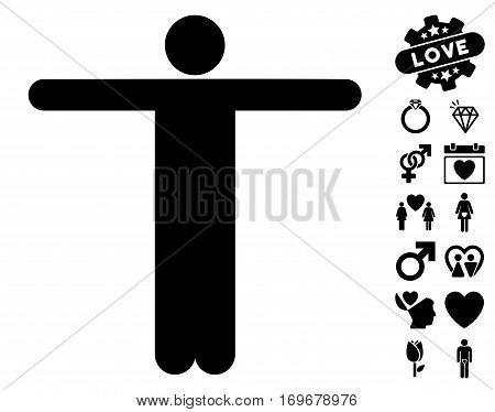 Scarecrow Pose pictograph with bonus valentine clip art. Vector illustration style is flat iconic black symbols on white background.