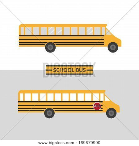 School bus icon. Traditional yellow transporting vehicle symbol for transportation of children to school in flat style. Emblem of passenger auto to transport pupils. Vector element banner background