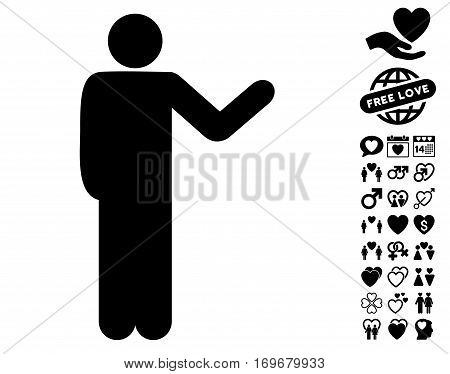 Talking Man pictograph with bonus lovely pictograph collection. Vector illustration style is flat iconic black symbols on white background.