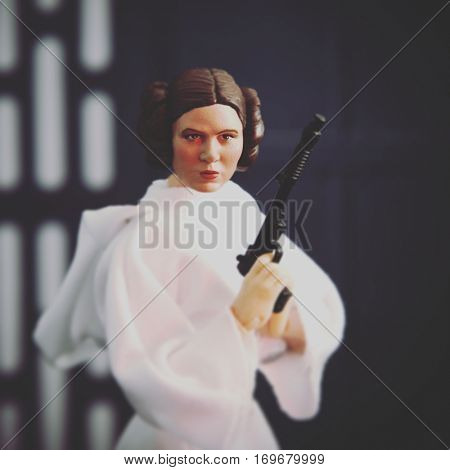 Carrie Fisher as Princess Leia Organa from Star Wars Episode IV A New Hope - recreated scene using Hasbro Black Series 6 inch action figure