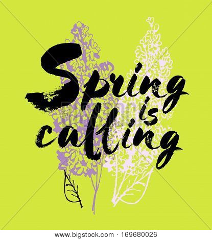 Spring is coming vector lettering on a lilac background branches illustration. Hand drawn phrase. Handwritten modern brush calligraphy for invitation and greeting card, t-shirt, prints and posters. Elements for your design.