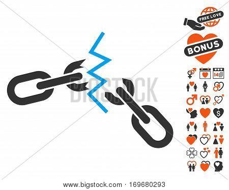 Broken Chain icon with bonus love icon set. Vector illustration style is flat iconic symbols for web design app user interfaces.