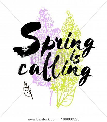 Spring is coming vector lettering on a lilac background branches illustration. Hand drawn phrase. Handwritten modern brush calligraphy for invitation and greeting card, t-shirt, prints and posters. Elements for your design. White background.
