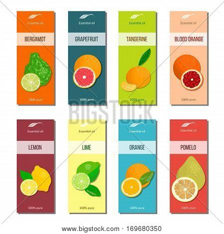 Essential oil labels set. Bergamot, lemon, grapefruit, lime, mandarin, pomelo, orange, blood orange 8 stripes collection For cosmetics perfume health care products aromatherapy