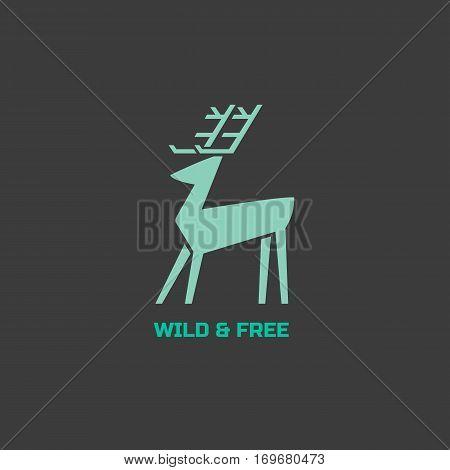 Animal based logo. Wild deer sign. Hand drawn design for company brand logotype. Horned reindeer symbol. Decorative vector illustration with elk. Wildlife advertisement banner element