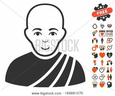 Buddhist Monk icon with bonus love pictures. Vector illustration style is flat iconic symbols for web design app user interfaces.