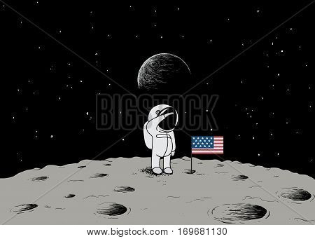 Cute little astronaut stand on the moon with USA flag.Space mission.Childish vector illustration