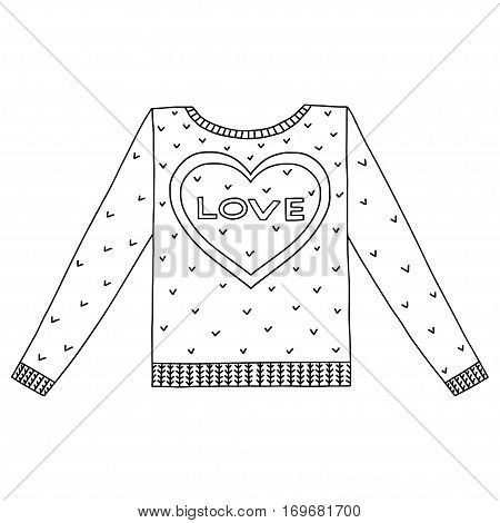 Vector cute cozy sweater with hearts and love. Valentines days sweater.