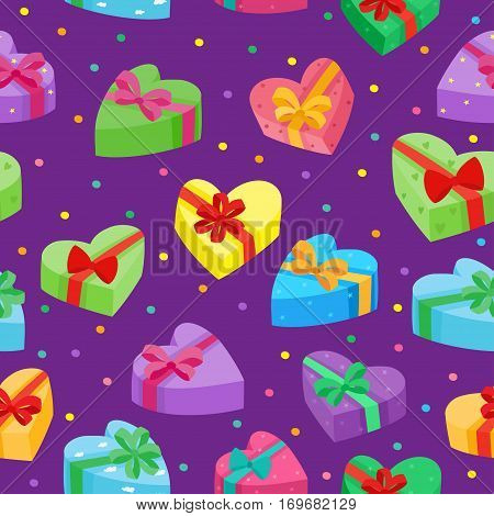 Valentines days presents collection. Vector seamless pattern of cartoon gifts in bag on violet background